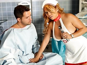 Sexy redhead nurse makes handjob