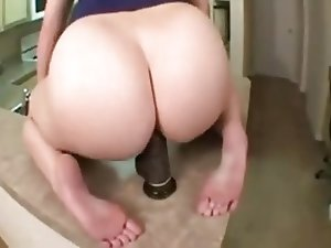 Fat Ass Chick Rides Huge Black Dildo