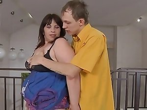 Russian BBW-Granny anal by young Guy